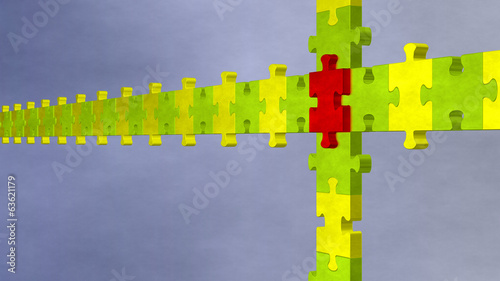 3d multicolor puzzle on blue cloudy background