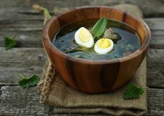 russian traditional nettle soup with eggs and sour cream