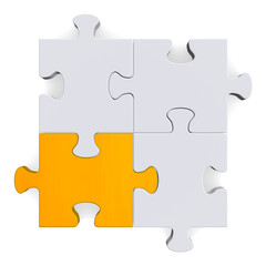 3d puzzle with one golden piece on white