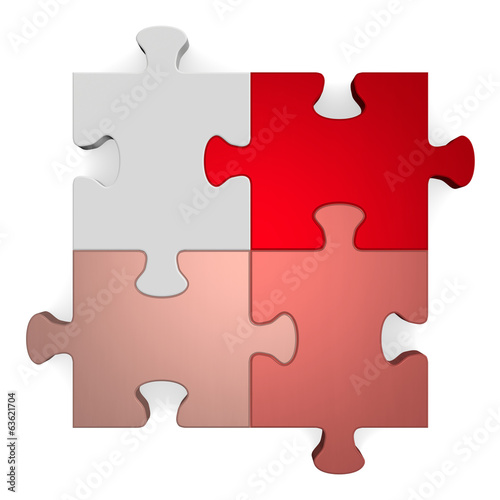 3d puzzle, shades of red to grey on white