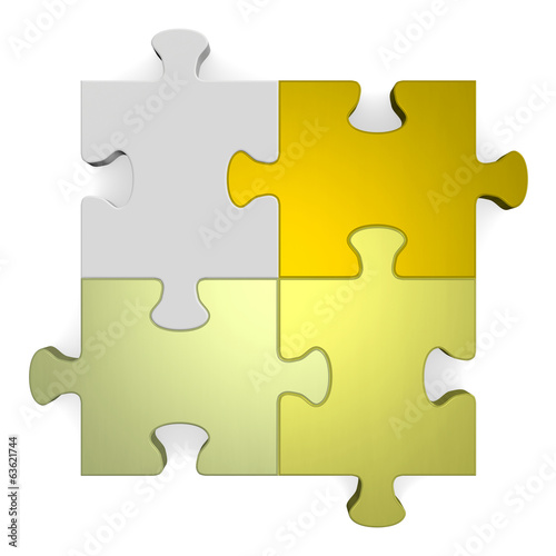3d puzzle, shades of golden to grey on white