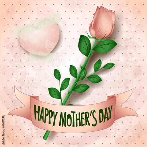 Happy mothers day, card with rose