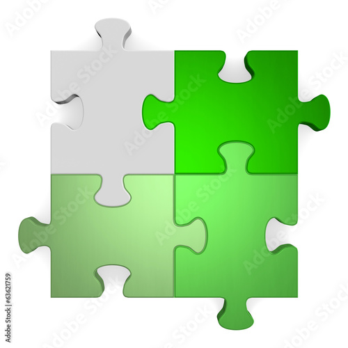 3d puzzle, shades of green to grey on white