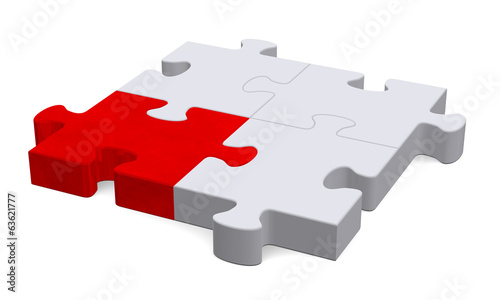 3d puzzle with one red piece, perspective view