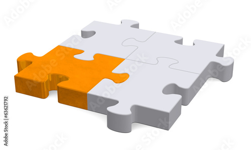 3d puzzle with one orange piece, perspective view