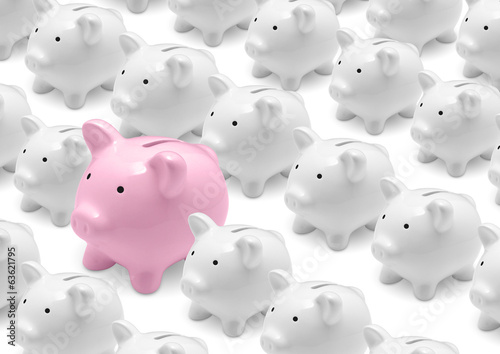 Group of white piggy banks and big pink piggy bank
