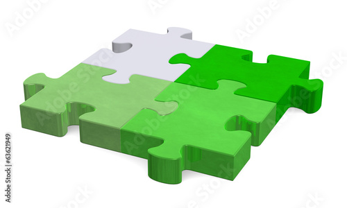 3d puzzle, shades of green to grey, perspective