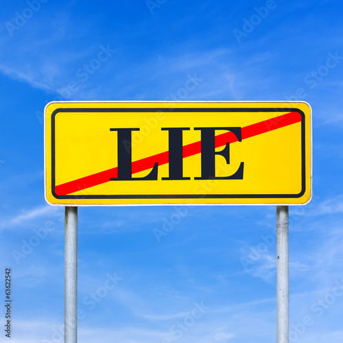 Traffic sign prohibiting lying