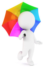 3d white people multicolored umbrella