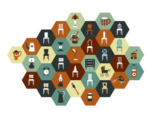 Collection of hexagonal flat icon.