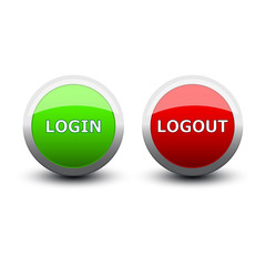 buttons login and logout