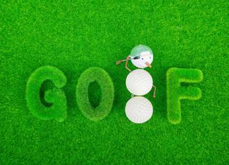 golf green grass word on green background