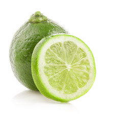 Fresh lime and slice isolated on white background