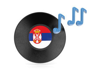 Vinyl disk with flag of serbia