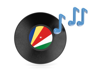 Vinyl disk with flag of seychelles