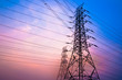 canvas print picture - High voltage post and sky in twilight time