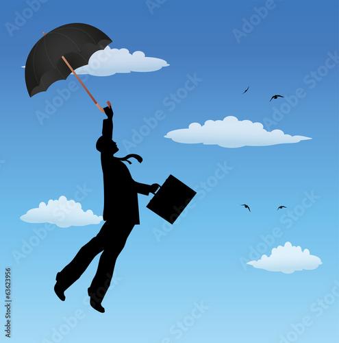 uomo d'affari vola nel cielo