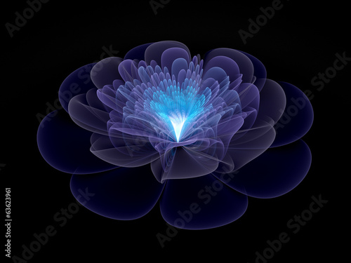 blue abstract flower blossom, computer generated fractal backgro