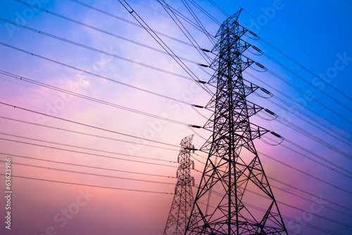 High voltage post and sky in twilight time - 63623986