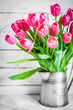 Tulips on wooden rustic background