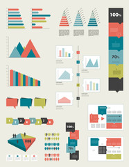 Flat infographic collection of charts and diagrams.