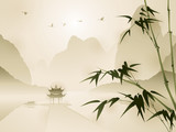 Fototapety Oriental style painting, Bamboo in a beautiful scene