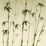 Fototapety bamboo forest, vectorized oriental style brush painting