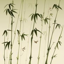 forêt de bambous, peinture vectorisée de brosse de style oriental