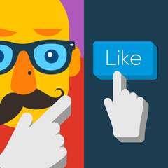 Like us Button with hipster man face