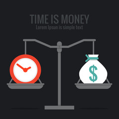 Time is money concept design, vector