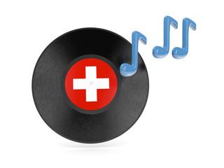 Vinyl disk with flag of switzerland