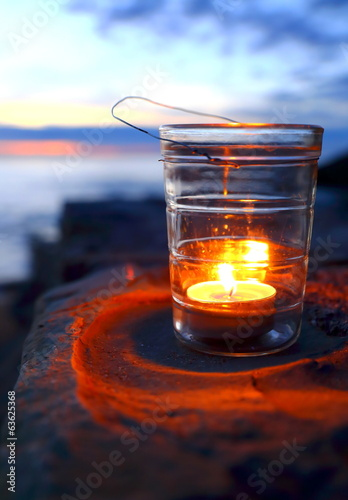 Candle in twilight