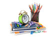 Schoolchild and student studies accessories. Back to school conc