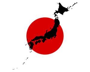 Karte und Fahne von Japan