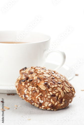 Cookie and cup of tea