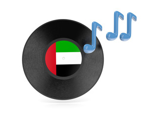 Vinyl disk with flag of united arab emirates