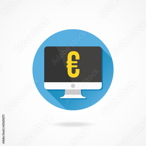 Vector Computer Display and Euro Sign Icon