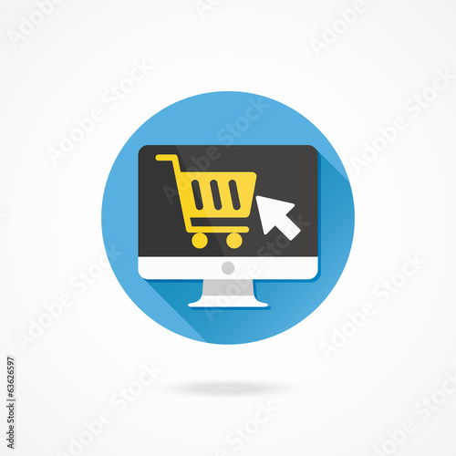 Vector Computer Display Buy Online Icon Ecommerce Concept
