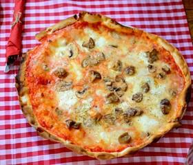 Pizza Quattro Formaggi With Mushrooms