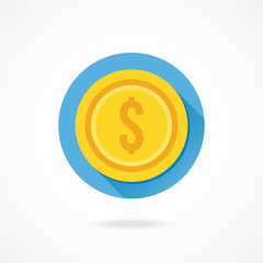 Vector Gold Coin Dollar Icon