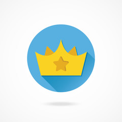 Vector Gold Crown with Star Sign Icon