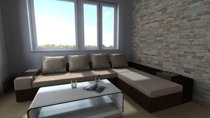 Zimmer mit Sofa und großem Fenster