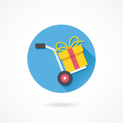 Vector Hand Truck and Gift Box Icon Gift with Delivery Concept