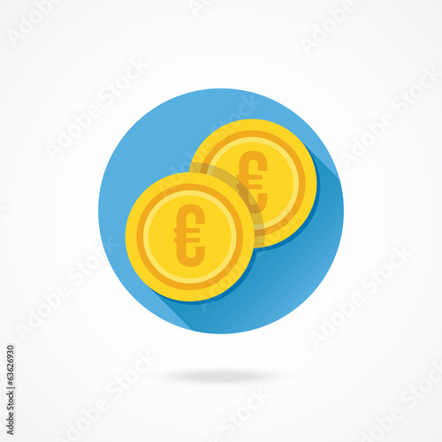 Vector Gold Coins Euro Icon