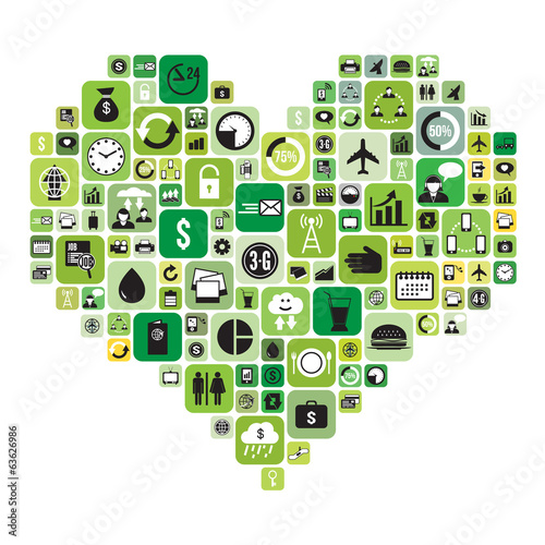 Business icons set in heart, vector format