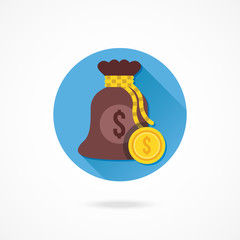 Vector Money Bag and Gold Coin Icon