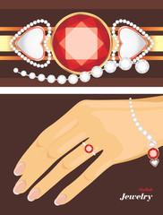 Stylish jewelry. Female bracelet and ring