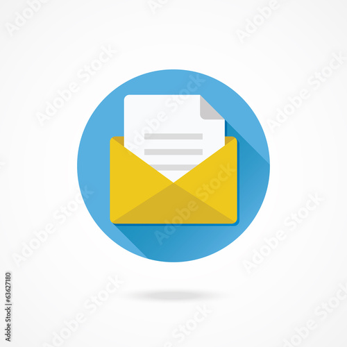 Vector Opened Envelope with Document Icon