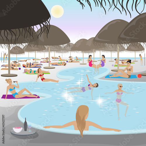 Women At Pool - Vector Illustration
