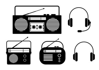 Radio icons on white background